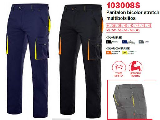 PANTALON BICOLOR STRETCH MARINO/YELLOW FLUOR